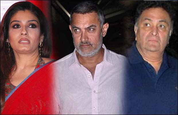 Raveena-Tandon,-Aamir-&-Rishi-KApoor