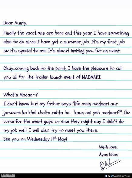 Madaari Invite
