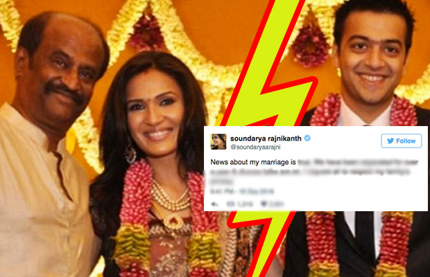 SHOCKER: Soundarya Rajinikanth & Ashwin Decide To Part Ways?