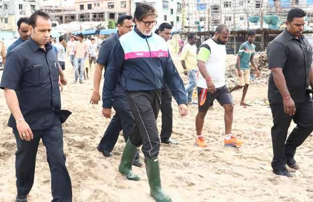 Amitabh Bachchan Shoots a Special Episode Of Kaun Banega Crorepati At Versova Beach