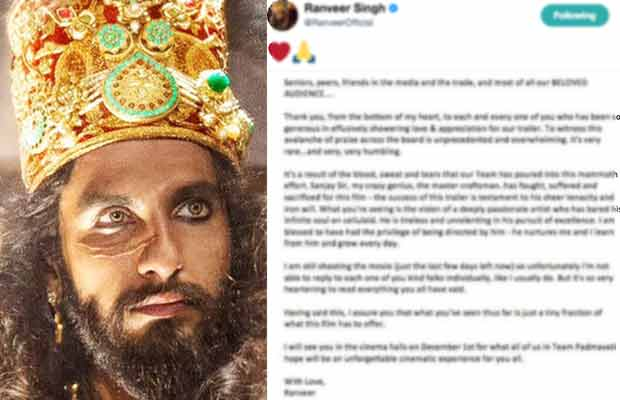 Padmavati Trailer: Ranveer Singh Gets Emotional Seeing The Response From The Audience, Sends Out This Message For Everyone