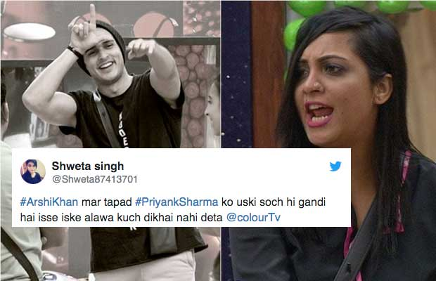 Bigg Boss 11: Twitterati SLAM Priyank Sharma Over Commenting On Arshi Khan's Character!