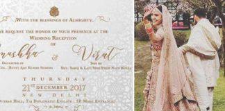 anushka sharma virat kohli wedding card